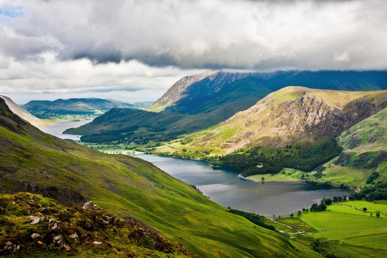 View over Buttermere & Crummock Water from the Haystacks path, Lake District National Park, Cumbria, England, UK