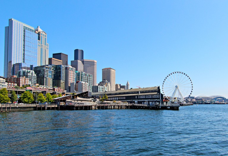 Seattle skyline, waterfront and great wheel