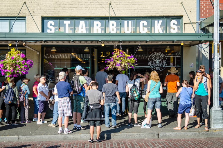 The original Starbucks coffee shop in Pike Place Market, Seattle