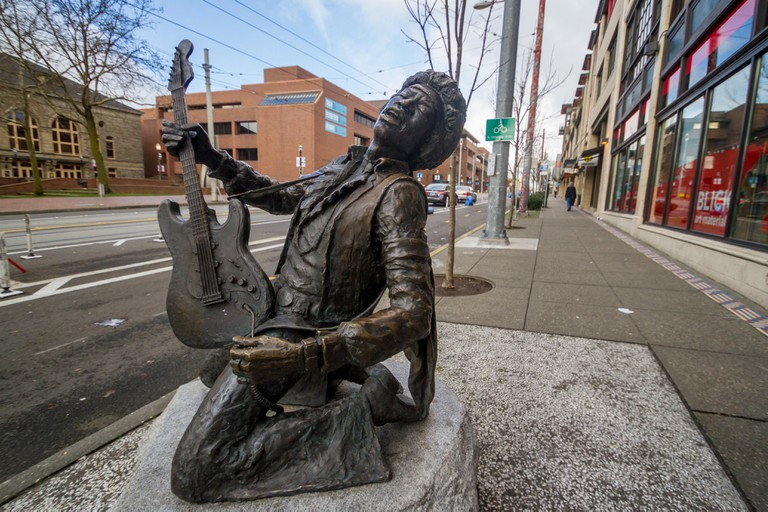 The Jimi Hendrix statue is on Capitol Hill in Seattle