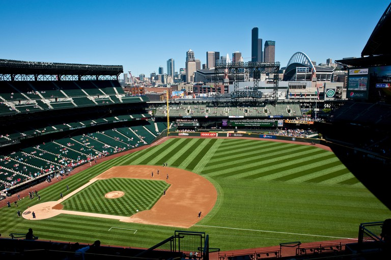 Baseball game at Safeco field with Seattle Skyline