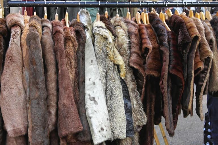 Various animal fur coats at hangers