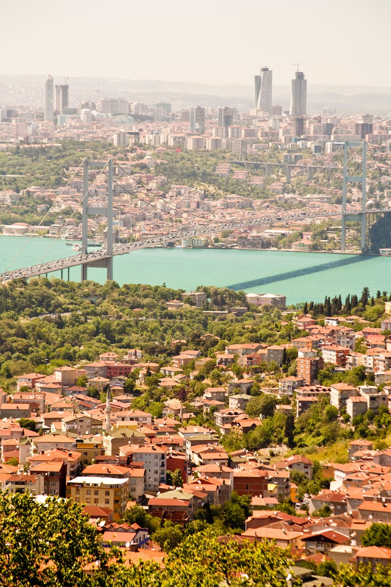 Panoramic view of the Bosphorus Bridge over the Bosphorus Strait, from Camlica Hill, on Asian side of Istanbul, Istanbul, Turkey