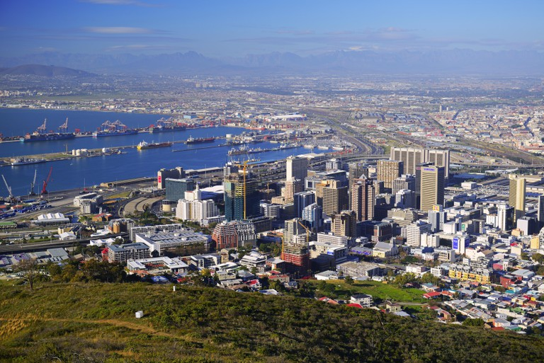 inner city of Cape Town seen from Signal Hill, South Africa, Western Cape, Capetown