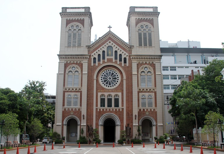 Square and facade of Assumption Cathedral in Bangkok, Thailand
