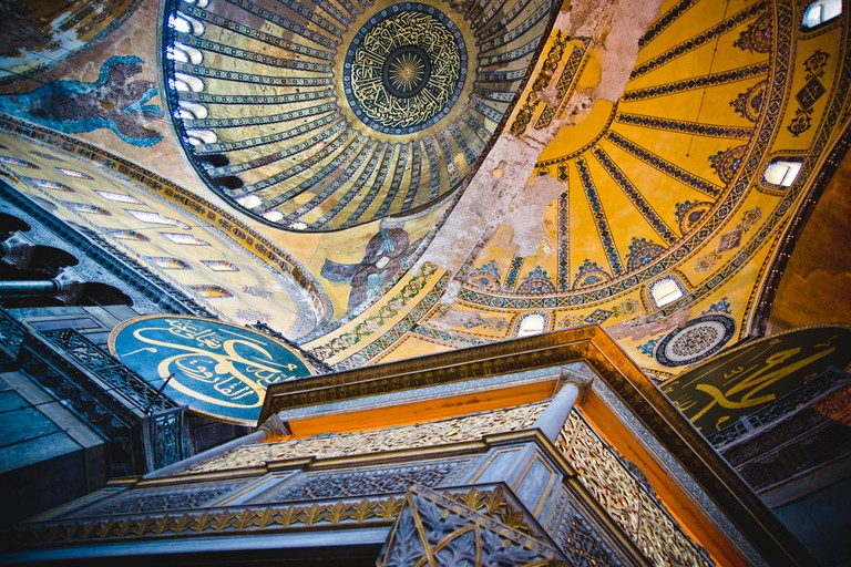 Istanbul, Turkey - April 5, 2012: Interior of the historic Basilica of Saint Sophia, mosque for the most visited Muslim cult in Istanbul.