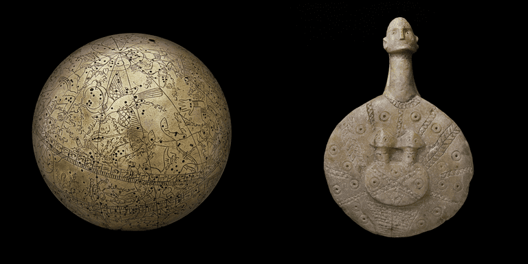 On the left: Astronomical globe with zodiac signs, Ottoman period-17th century and on the right: Kultepe Idol, late 3rd early 2nd millenium BC