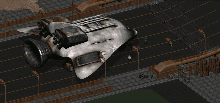 The Golden Gate Bridge with shuttle -- Screenshot by Tagaziel @ Bethesda Games, Fallout 2