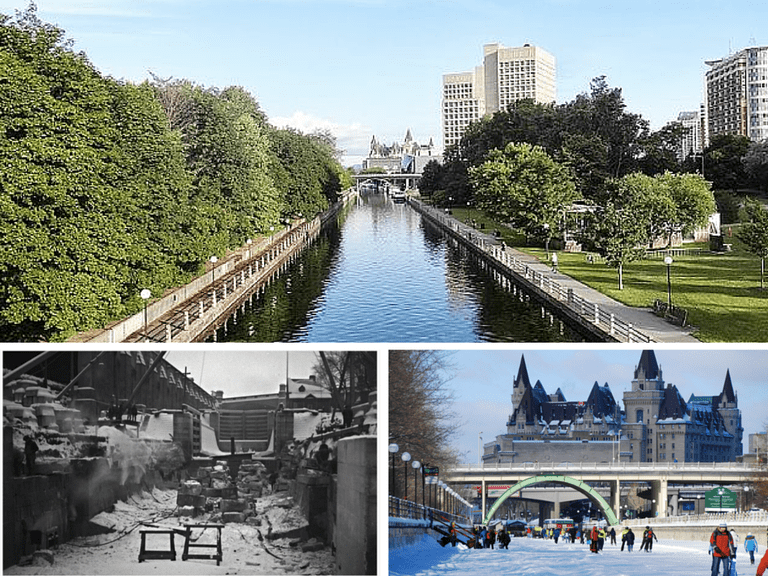 Rideau Canal at downtown Ottawa | © Suwannee.payne/Wikicommons | Rideau Canal Locks rebuilding 1925 | © Ross Dunn / Flickr | Longest Skating Rink in the World | © Matt Boman / Flickr