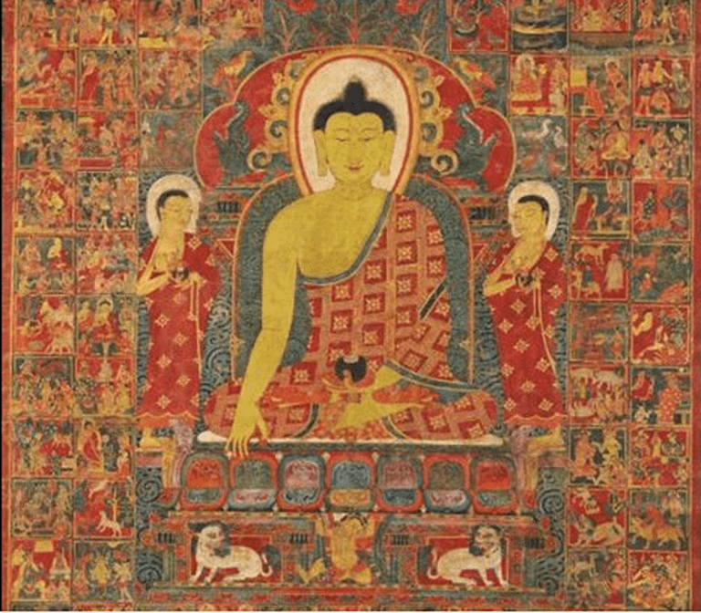 Thangka of Buddha with the One Hundred Jataka Tales in the background, Tibet, 13th-14th century (c) WikiCommons