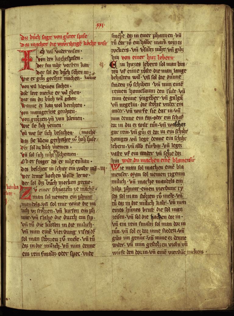 First page of Das buch von guter spise, c. 1350   © Universitätsbibliothek München/WikiCommons