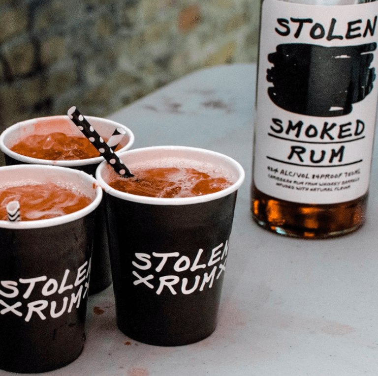 "Enjoy a delicious smoked rum and ginger beer, ""Smoke & Stormy"" courtesy of Stolen Rum"