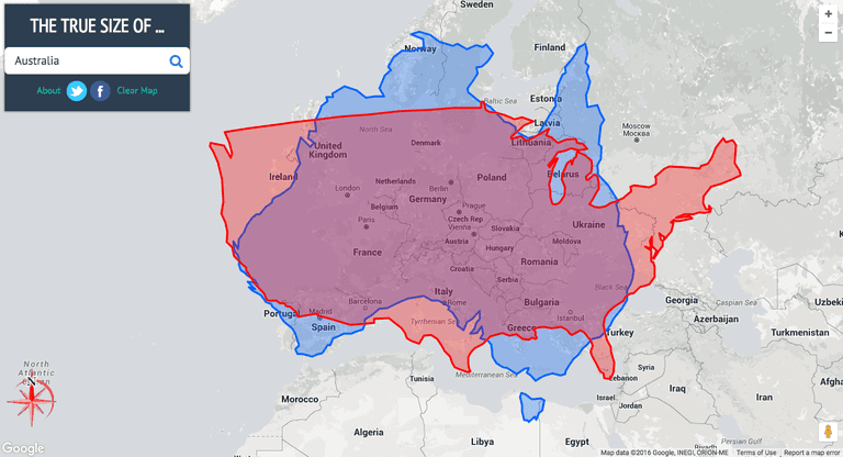The true size of Australia (blue) and the United States (red) overlaying Europe   Courtesy of thetruesize.com