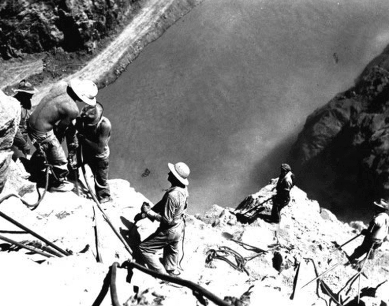 "Looking down at ""high scalers"" above the Colorado River 