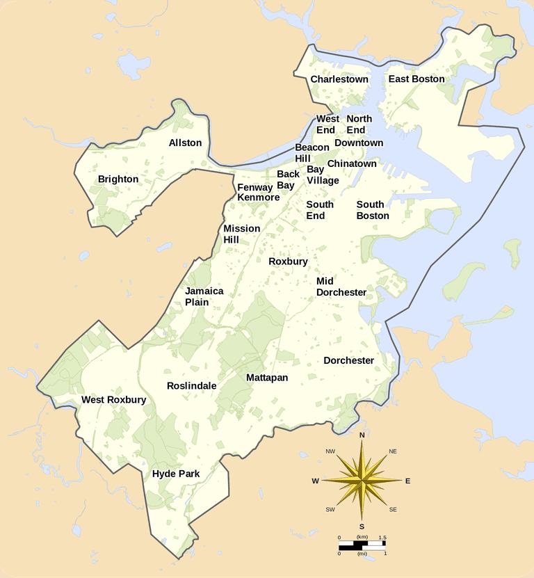 Map of Boston neighborhoods | ©Goran tek-en/Wikipedia
