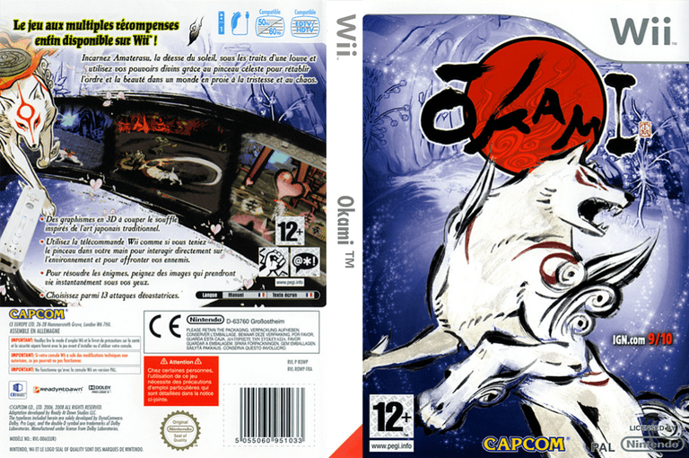 Okami cover art and back of the French Wii version | © Capcom, scanned by Wii Attitude
