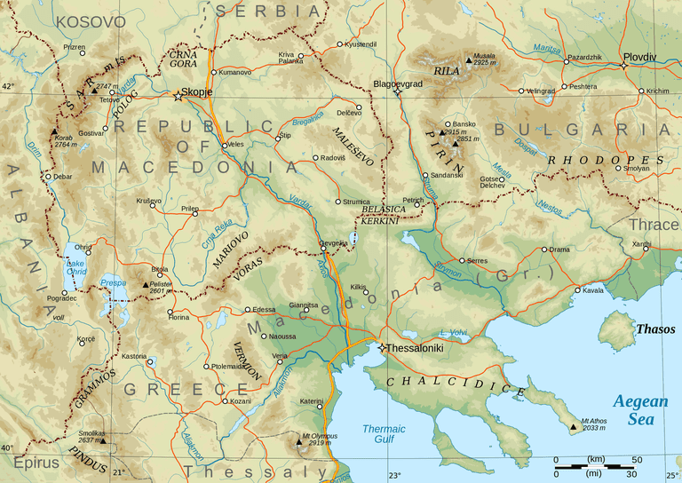 Map showing the bordering Macedonias | WikiCommons