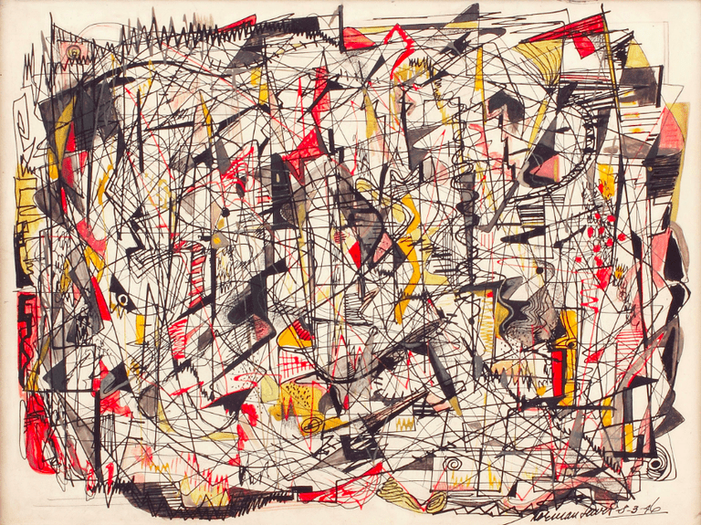 Roller Coaster, 1946 Opaque watercolor, ink, and crayon on board, 12 x 16 in.; framed: 18 x 23 x 2 3/8 in. | © Estate of Norman W. Lewis; Courtesy of Michael Rosenfeld Gallery LLC, New York, NY