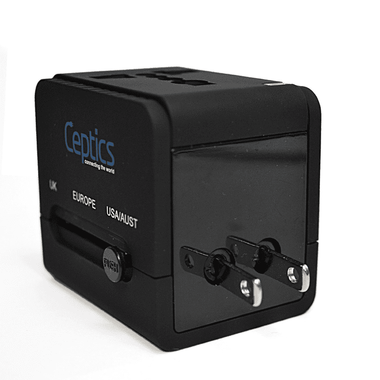 Ceptics All-In-One International Travel Plug Adapter with Dual USB Ports from Amazon