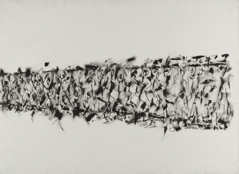 Untitled (Procession), c. 1965 Ink on paper, 26 x 40 in.; framed: 37 1/2 x 51 1/2 in. | © Estate of Norman W. Lewis; Courtesy of Michael Rosenfeld Gallery LLC, New York, NY