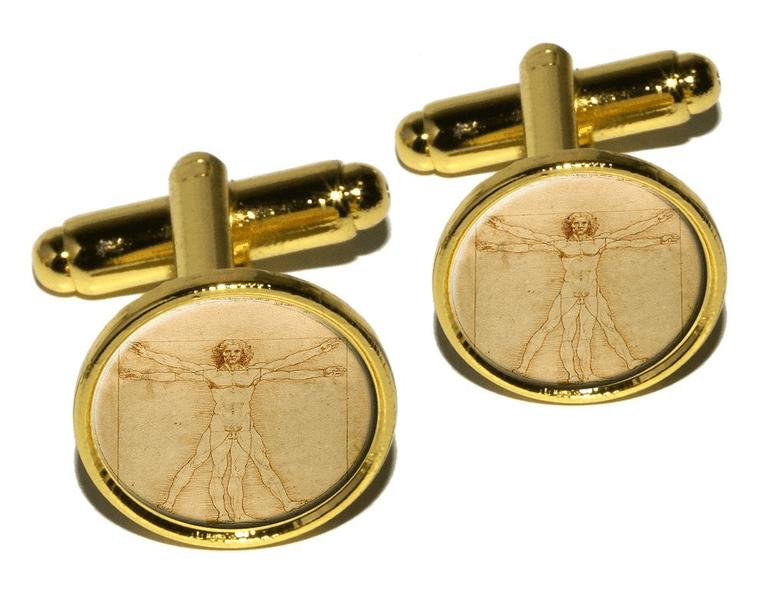 Leonardo da Vinci 'The Vitruvian Man' round cufflink set (gold), via Amazon