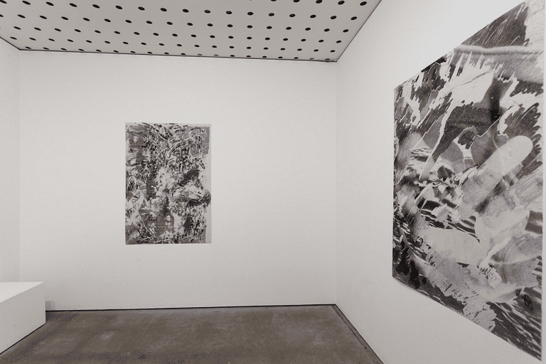 International Waters, Installation Detail. Centre of Contemporary Photography, 2016 3. Iraq war, sonar image of the South China Sea , blurred misprint. 2001, 2012, 2016 © Anna Higgins
