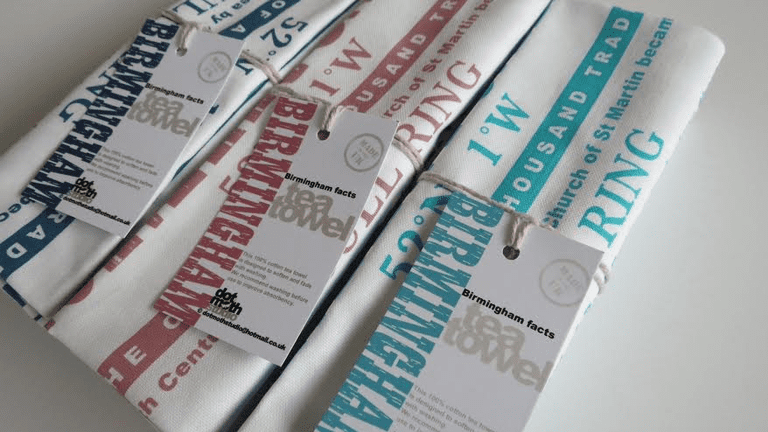 Birmingham facts tea towel, by Dot Moth Studio