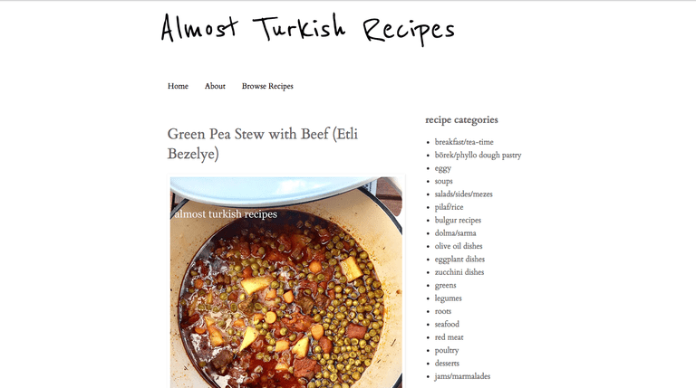 Screenshot of Almost Turkish Recipes