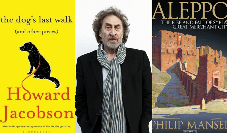 (l-r) The Dog's Last Walk by Howard Jacobson, Howard Jacobson, and Aleppo by Philip Mansel | Courtesy of Jewish Book Week