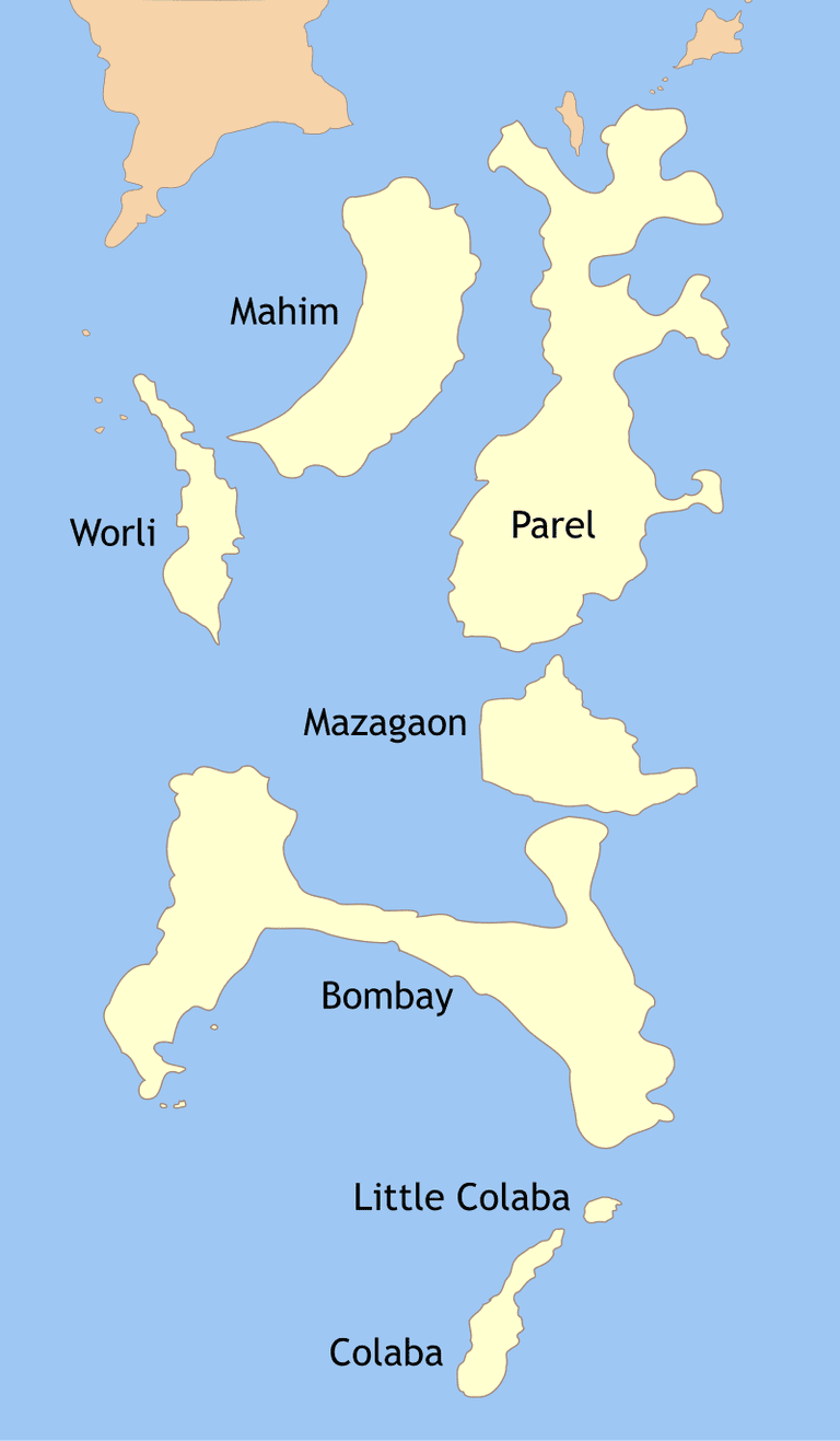 Rough Map of the Seven Islands of Mumbai TIFR/ WikiCommons
