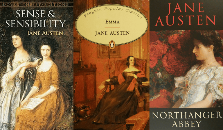 Sense and Sensibility, Emma, and Northanger Abbey covers | Courtesy of Dover Thrift editions, Penguin Classics, and Transatlantic Press