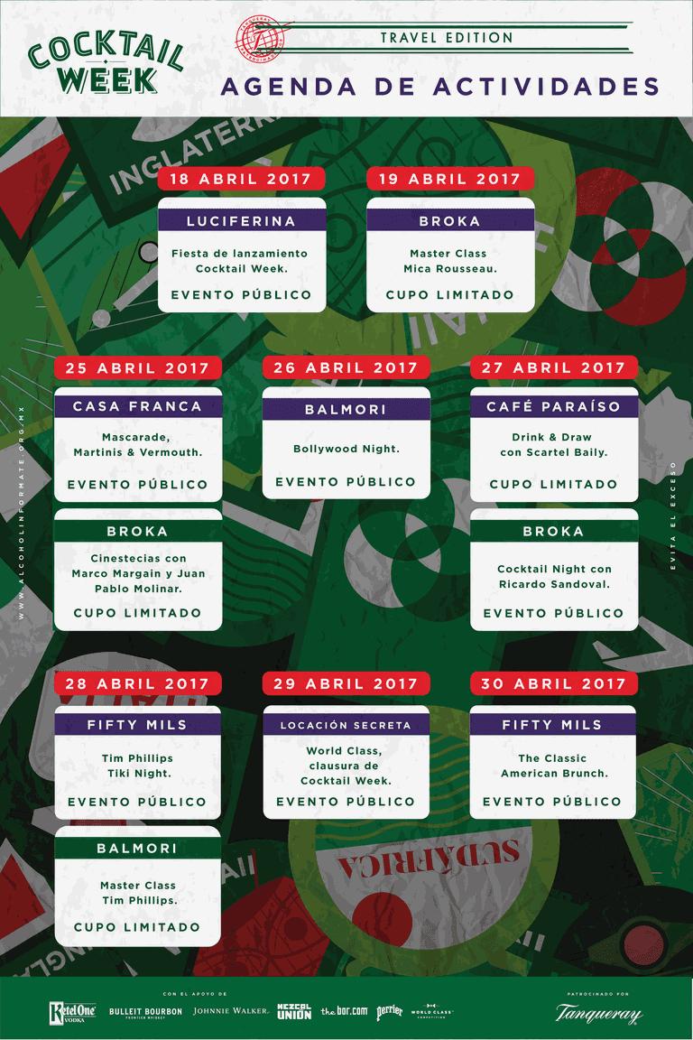 Cocktail Week Calendar Courtesy of Grupo Sicario