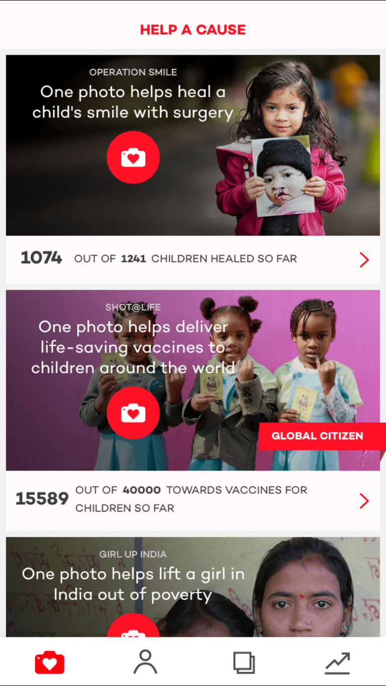 The Donate a Photo app