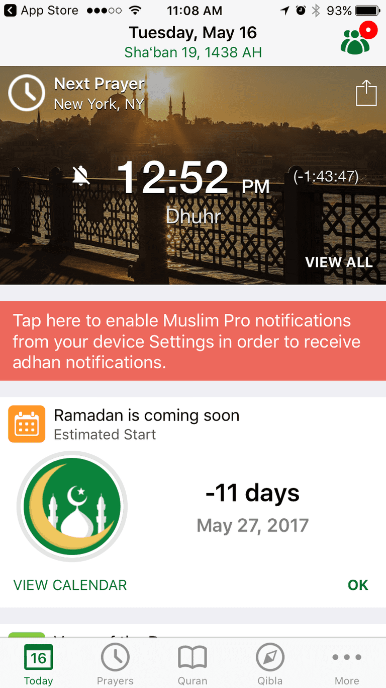 A screenshot of Muslim Pro – Ramadan 2017