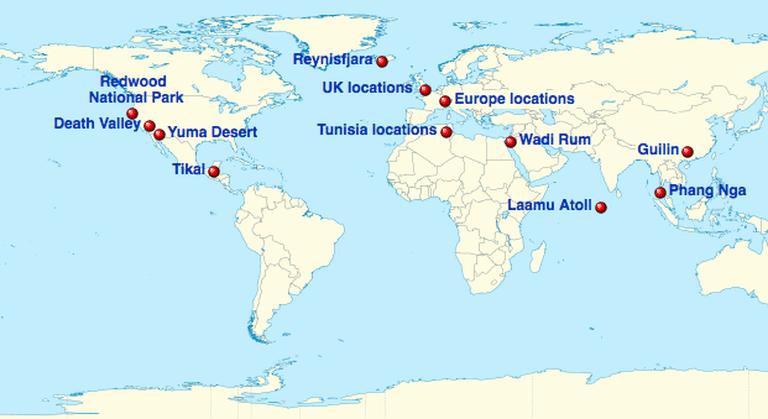 Star Wars locations map