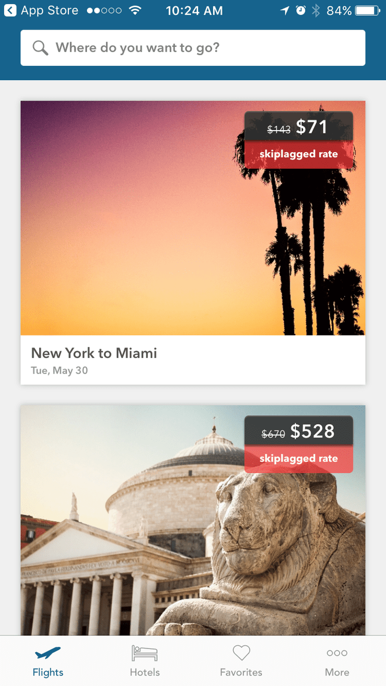 Skiplagged offers alternative flight options