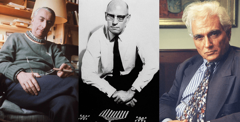 Roland Barthes (1975), Michel Foucault (1968), and Jacques Derrida (1999) | All images © Sipa Press/REX/Shutterstock