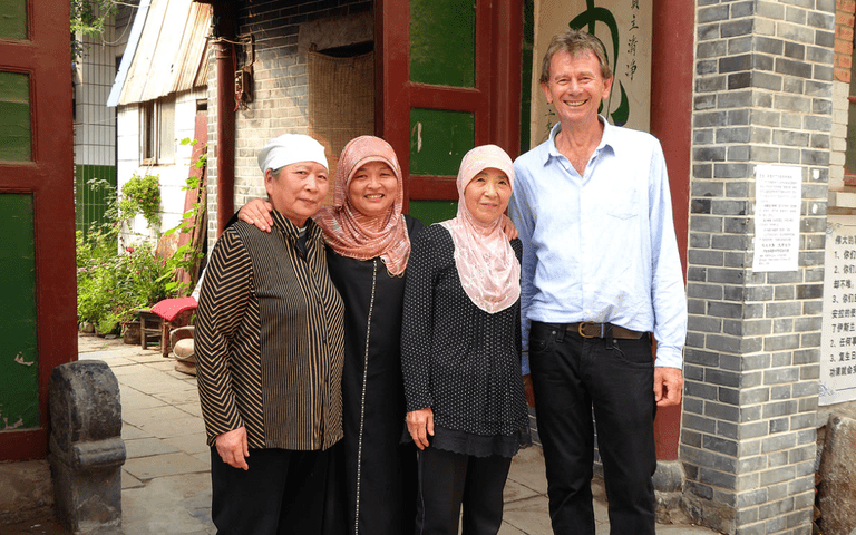 "Michael Wood and imams at the Wangjia hutong (or alley) mosque in Kaifeng, ""The Story of China"""