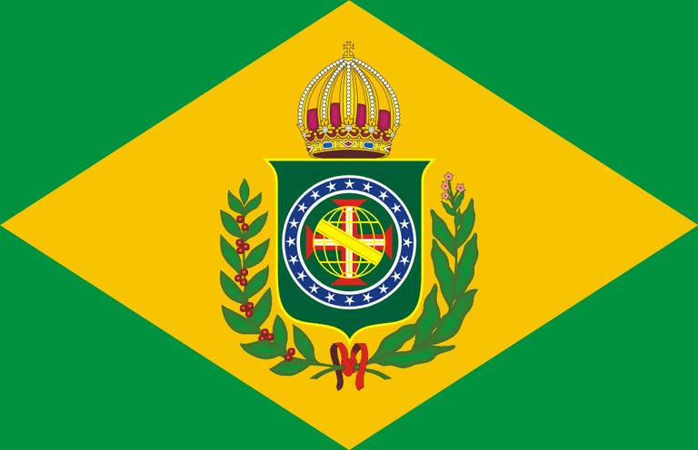 The Brazilian flag during the Brazilian Empire |©Tonyjeff, based on work of Jean-Baptiste Debret/WikiCommons