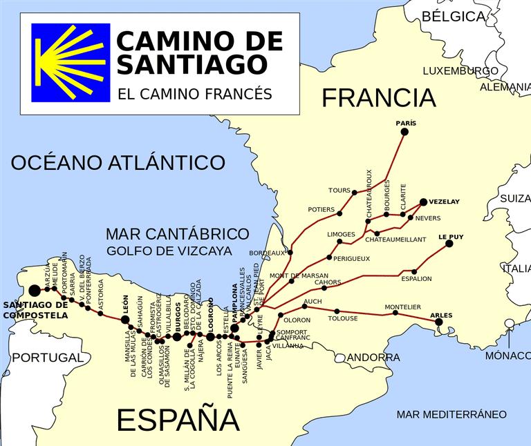 Camino de Santiago route map | ©jynus / Wikimedia Commons