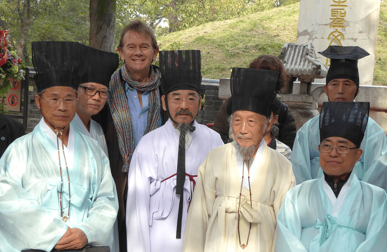 "Michael Wood with Korean scholars at Confucius's tomb in Qufu, ""The Story of China"""