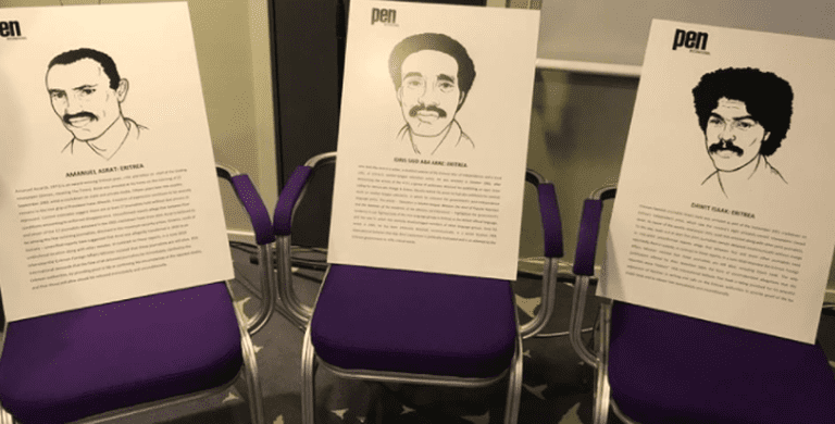 "Eritrean writers Amanuel Asrat, Idris ""Aba-Arre"" Said, and Dawit Isaak being honored with empty chairs at ICORN Network Meeting & PEN International WiPC Conference that took place in the city of Lillehammer (Norway) from 31 May to 2 June 2017"