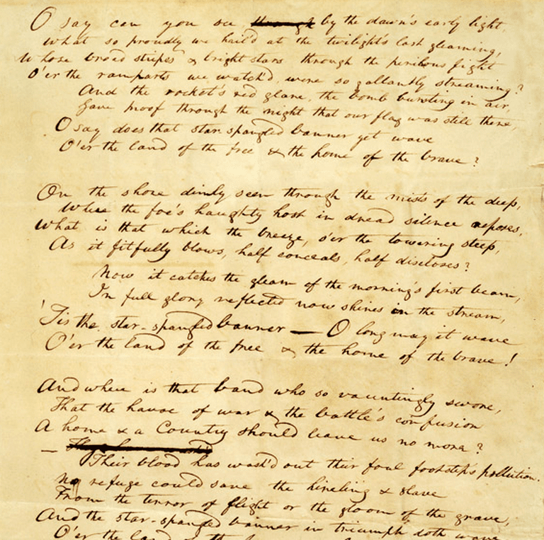 Early manuscript of Key's song | Courtesy of The Smithsonian National Museum of American History