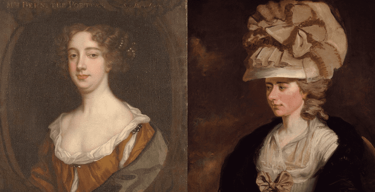 Aphra Behn (ca. 1670) and Frances Burney (ca. 1774), painted Sir Peter Lely and Edward Burney, respectively