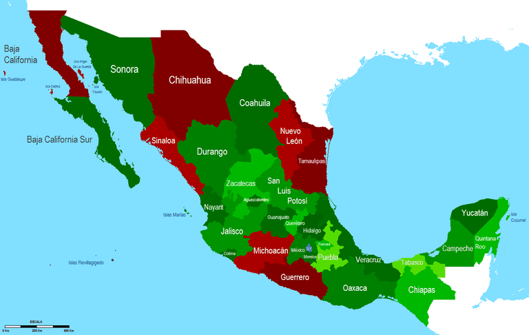 A 2010 infographic about the Mexican states with the most drug violence