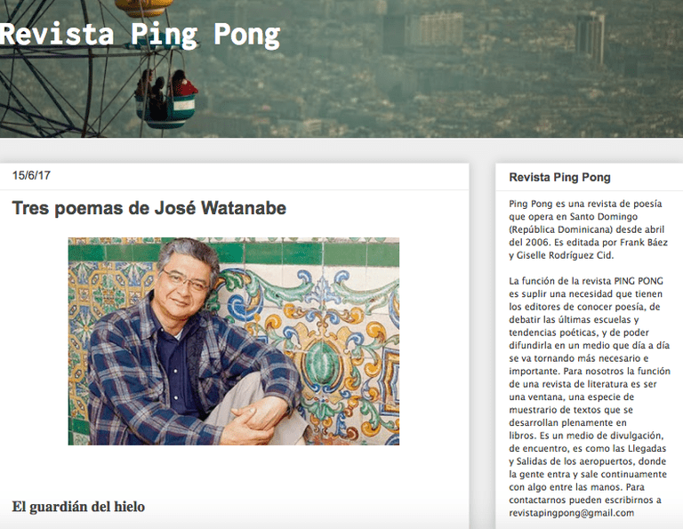 Screenshot of Revista Ping Pong's homepage