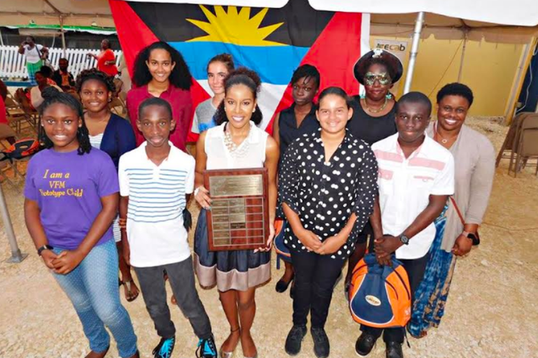 Hillhouse (masked, back right), with finalists of the 2017 Wadadli Pen award | © Linisa George of Art.Culture.Antigua