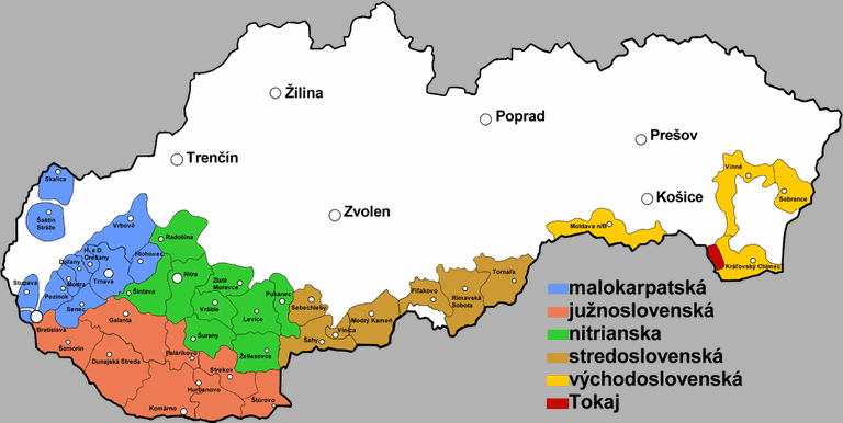 A map showing each of Slovakia's six unique wine regions I