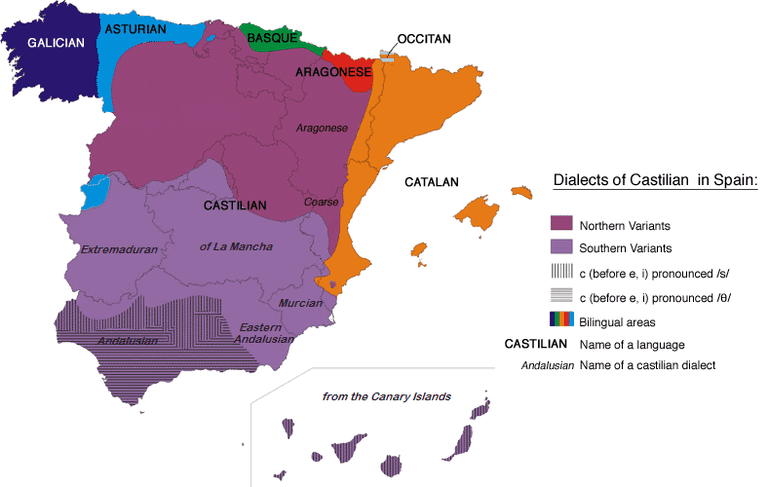 Map of languages spoken in Spain