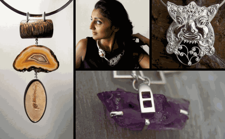 Shyam uses eclectic and unconventional materials for her unique pieces.